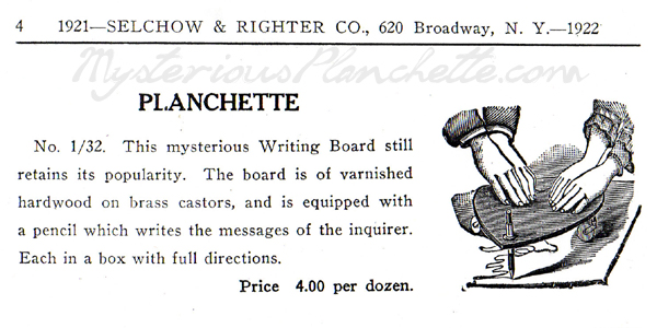 The Mysterious Planchette | Manufacturers: Selchow & Righter